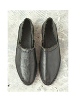 BLACK LEATHER SHOES WITH TOP STITCH, PETRUCHA