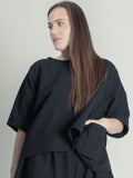 BLACK TOP WITH STITCHES IN COTTON,  TINA GIVENS - Kapade Shop