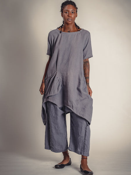 GREY WITH LAVENDER UNDERTONE LINEN, DRESS/TUNIC , TG