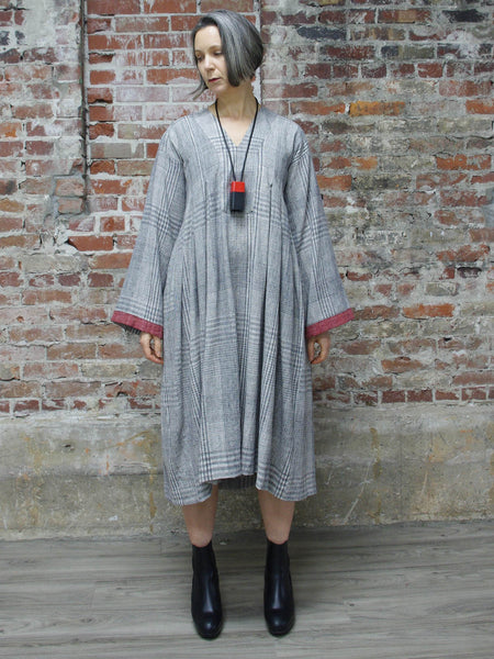 RED TRIM ON IVORY PLAID DRESS, WORLD OF CROW