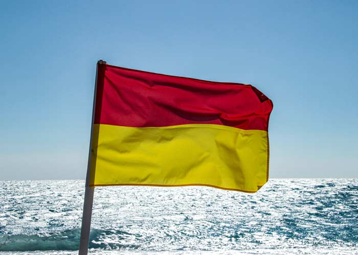 Beach Flags Red and Yellow