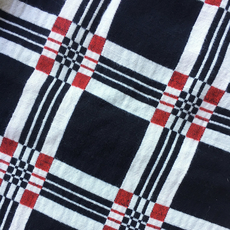 textile swatch of black geo