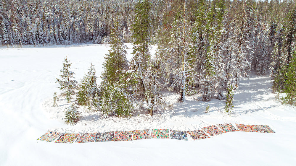 aerial view of quilts on snow