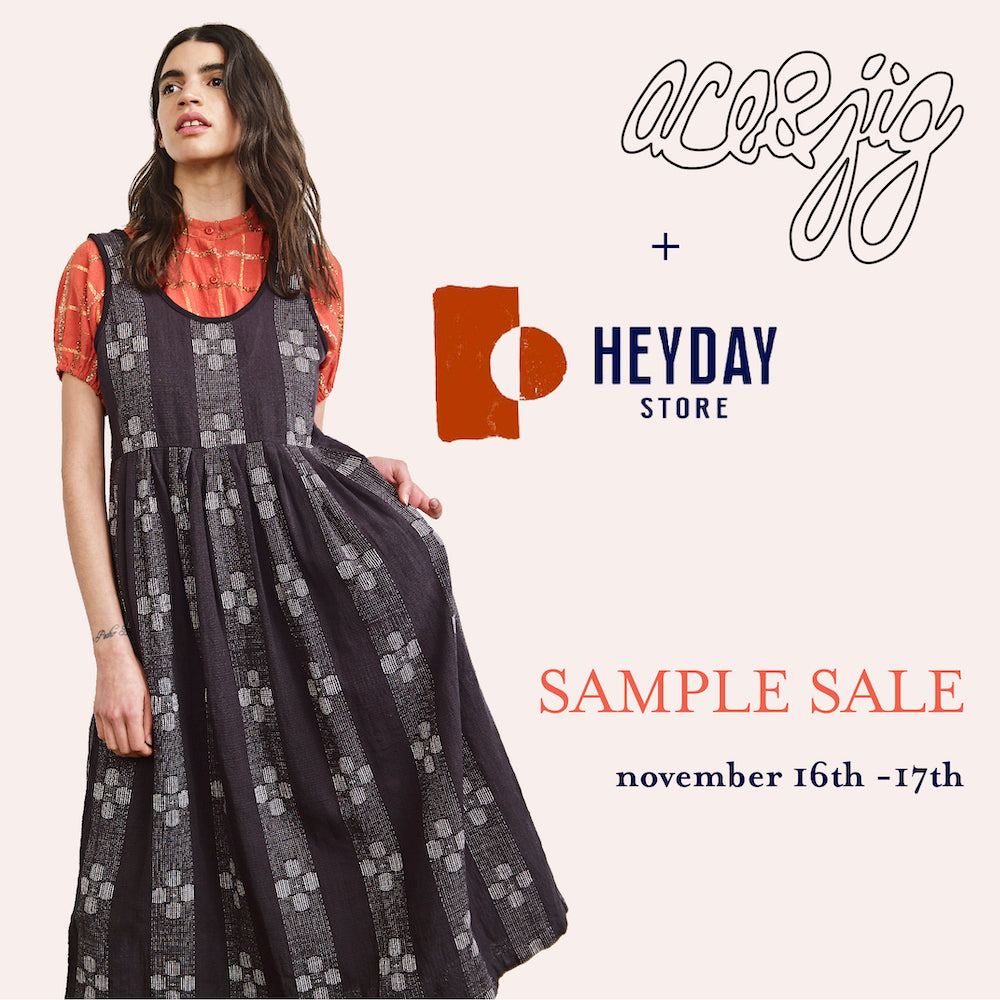 ace&jig x Heyday sample sale flyer