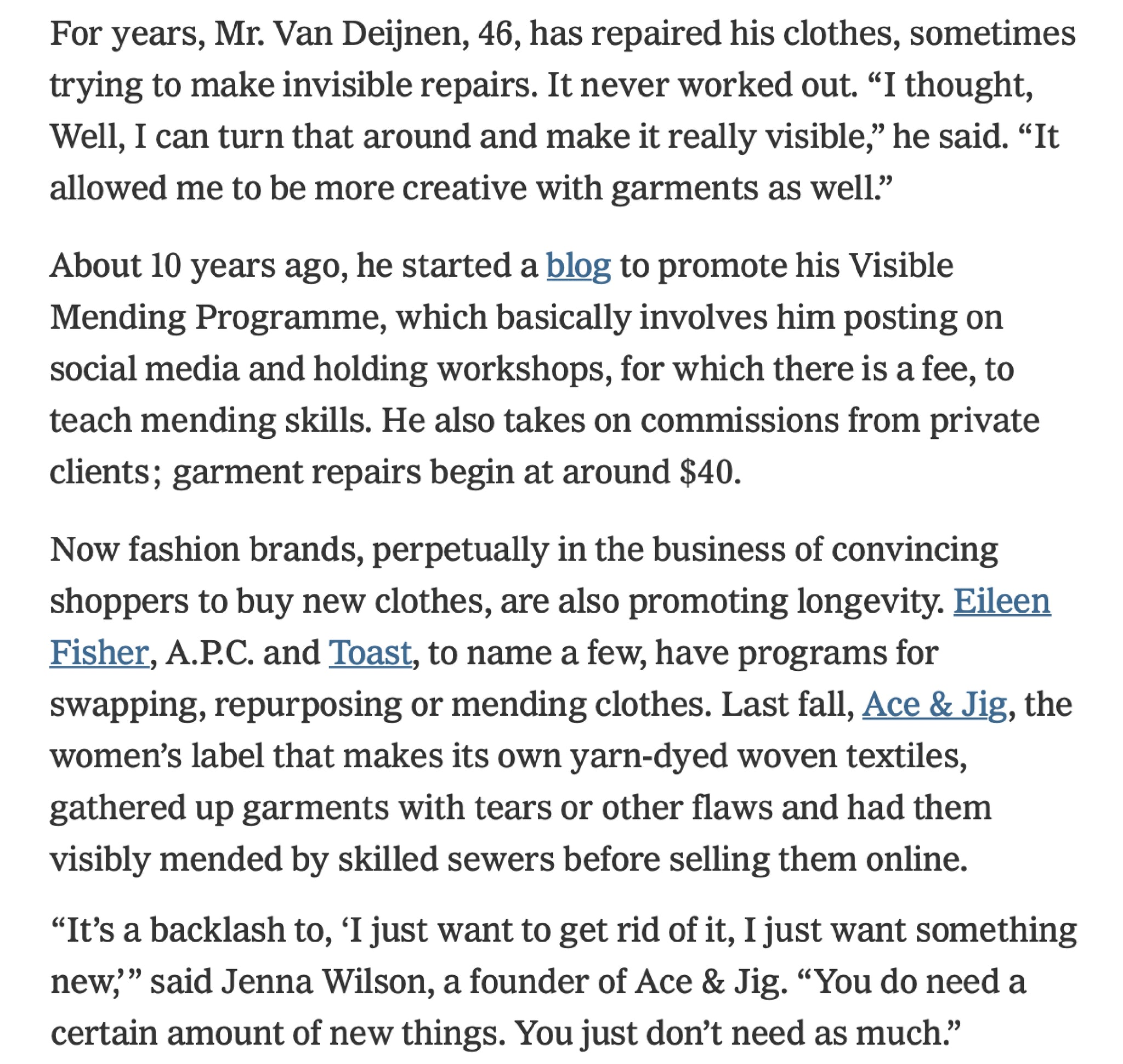 ace&jig featured in new york times
