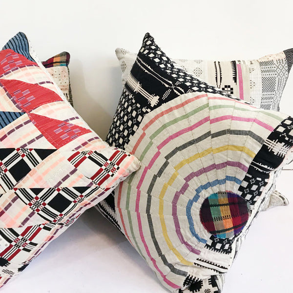 ace and jig pillows made with fabric scraps
