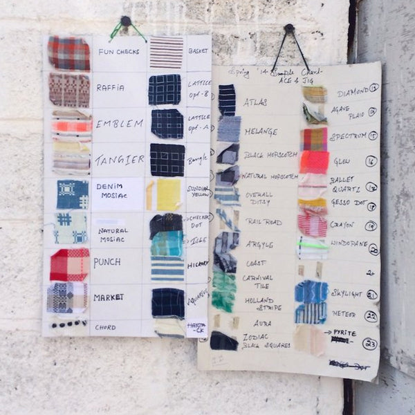 sheets detailing the fabric swatches and names hanging on a wall