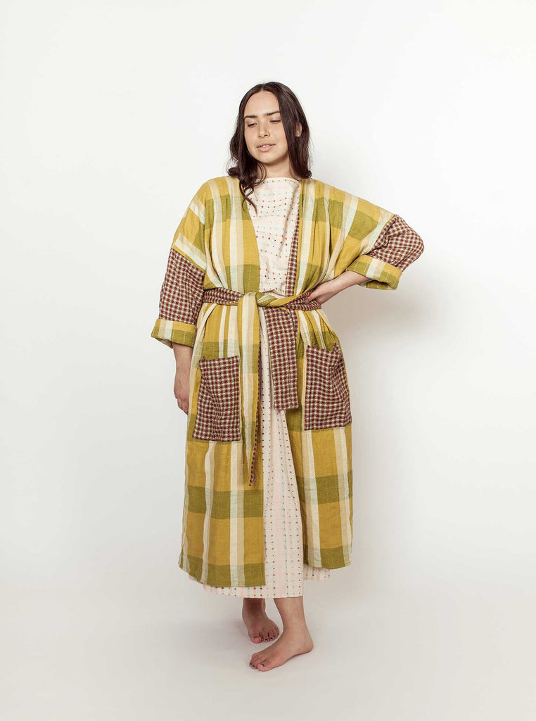 reversible quilted duster | loden - loden