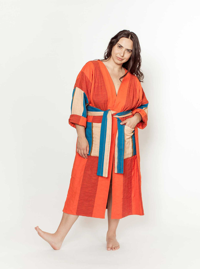 reversible quilted duster | tomato - tomato