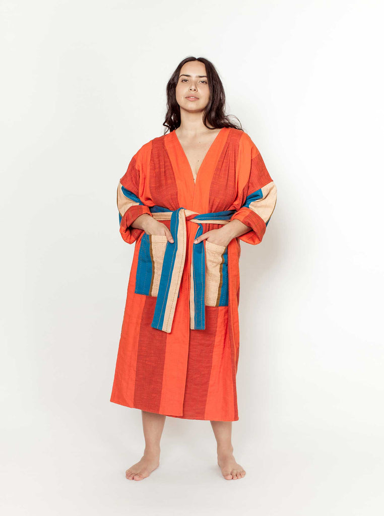 reversible quilted duster | tomato
