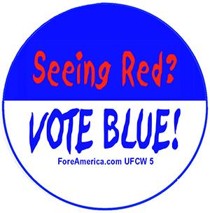 Seeing Red, Vote Blue Pin