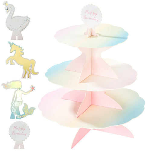 Reversible Cake Stand features 4 interchangeable toppers, Swan, Unicorn, Mermaid and Happy Birthday.