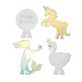 4 interchangeable toppers, Swan, Unicorn, Mermaid and Happy Birthday.