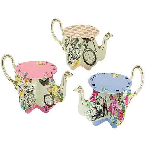 Alice in Wonderland Mini Teapot Cupcake Party Stands  featuring the famous Clock and Alice in Wonderland illustrations