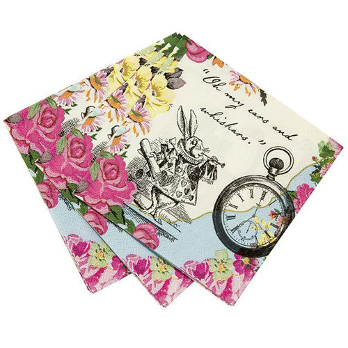 Alice in Wonderland Party napkins featuring the famous Clock and the Rabbit