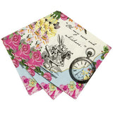 Alice Tea Party Napkins - Alice in Wonderland Party napkins featuring the famous Clock and the Rabbit