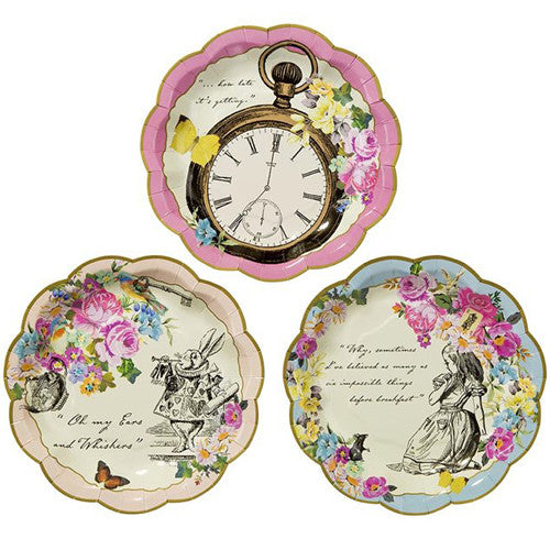 Alice in Wonderland Party Plates with 3 designs featuring Alice in Wonderland, the famous Clock and the Rabbit