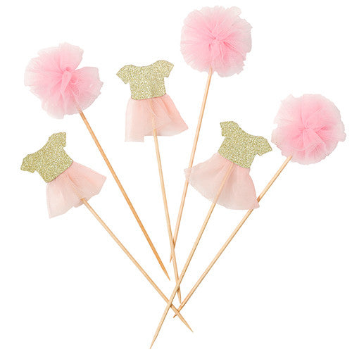Pink Ballerina Tutu and Pom Pom Cake Party Toppers with two designs pink mini tulle pom poms and pink tutu shirt cake toppers.
