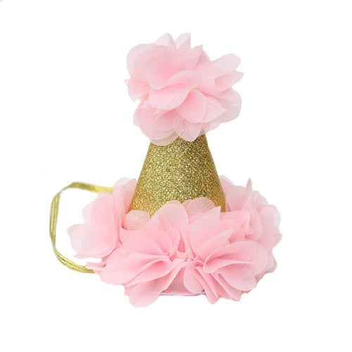 Pink and Gold Mini Birthday Hat