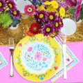 FLORAL FIESTA PLATES AND NAPKINS FLORAL COLORFUL PLATES IDEAL FOR A FIESTA BIRTHDAY PARTY