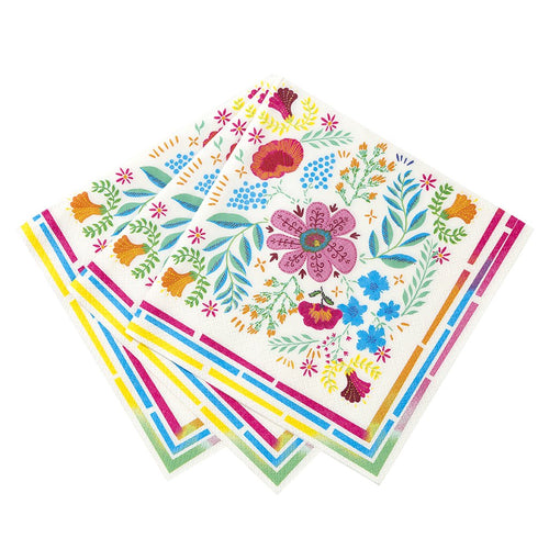 FLORAL FIESTA NAPKINS FLORAL COLORFUL PLATES IDEAL FOR A FIESTA BIRTHDAY PARTY