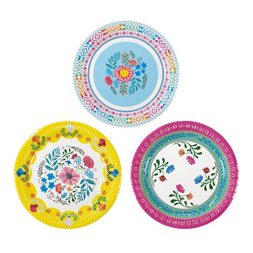 BOHO FIESTA PLATES FLORAL COLORFUL PLATES IDEAL FOR A FIESTA BIRTHDAY PARTY