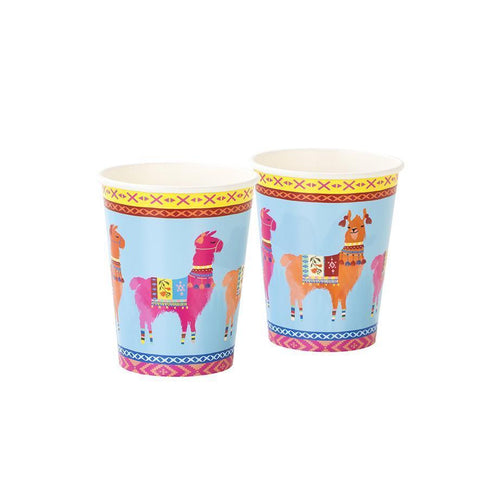 BOHO LLAMA CUPS FLORAL COLORFUL CUPS IDEAL FOR A FIESTA BIRTHDAY PARTY