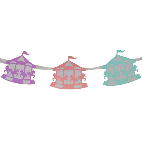 Pink, purple and blue Carousel Party Banner ideal for a carousel birthday party or baby shower
