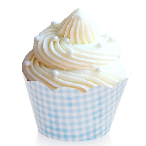 Blue Gingham cupcake wrappers Cupcake Wrappers & Liners Blue Ice Cream Party Baby Shower Boy Sale