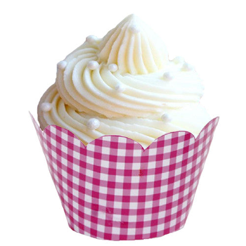 fuchsia Gingham cupcake wrappers Cupcake Wrappers & Liners Sale