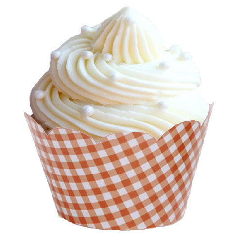 Orange Gingham cupcake wrappers Cupcake Wrappers & Liners Orange Halloween Party - Wicked Cute Sale