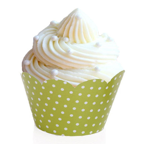 Green and white polka dot cupcake wrappers Cupcake Wrappers & Liners Green