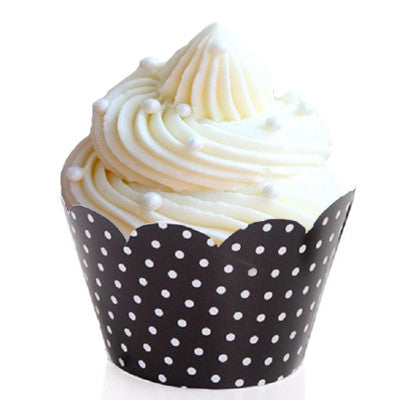 black and white polka dot cupcake wrappers Cupcake Wrappers & Liners Rock'n'Roll Party Black Rock'n'Roll Party- Girl Halloween Party - Wicked Cute
