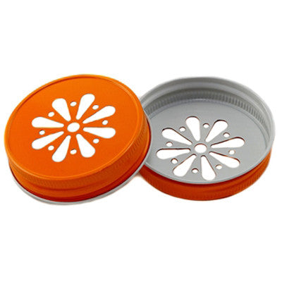 Daisy Cut Mason Jar Lids - Orange