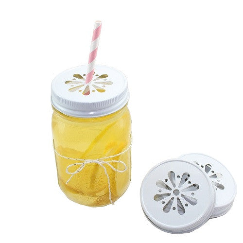Daisy Cut Mason Jar Lid - White