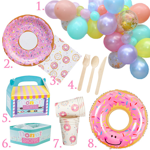 Donut Party in a Box all you need for a Donut party with just 1 click, donut plates, donut napkins, donut cups, donut foil balloon