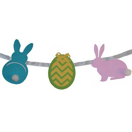Easter Banner featuring a blue bunny, a Easter egg and a pink bunny.
