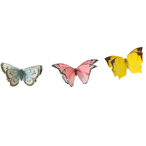 Fairy Butterfly Garland featuring butterflies in yellow, pink and blue