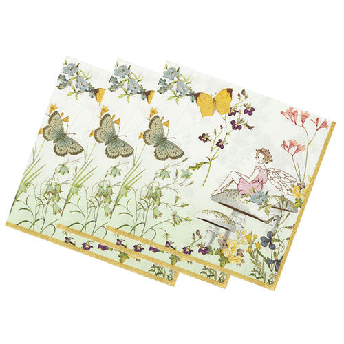 Fairy napkins with floral and butterflies fairy design.