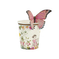 Fairy Cups with floral fairy design.  Pink butterfly to attach on top.