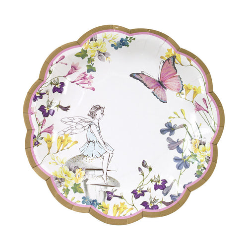 Fairy plates with floral and butterflies fairy design.