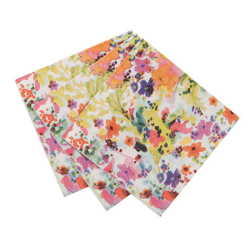 Floral Fiesta Napkins featuring a floral illustration, ideal for a spring  or summer birthday party.