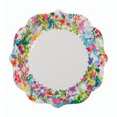 Floral Fiesta plates featuring a bright floral illustration, ideal for a spring  or summer birthday party.