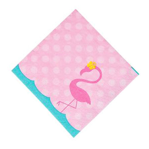 Pink flamingo party napkins featuring a pink flamingo illustration, ideal for a flamingo birthday party.