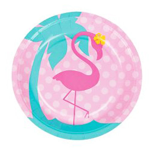 Pink flamingo party plates featuring a pink flamingo illustration and turquoise palm tree, ideal for a flamingo birthday party.