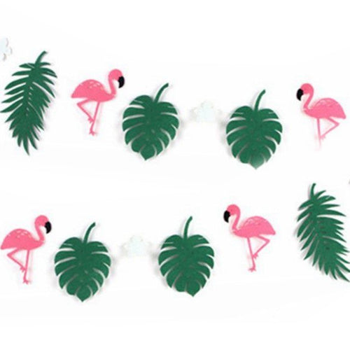 Flamingo & Tropical Leaves Banner