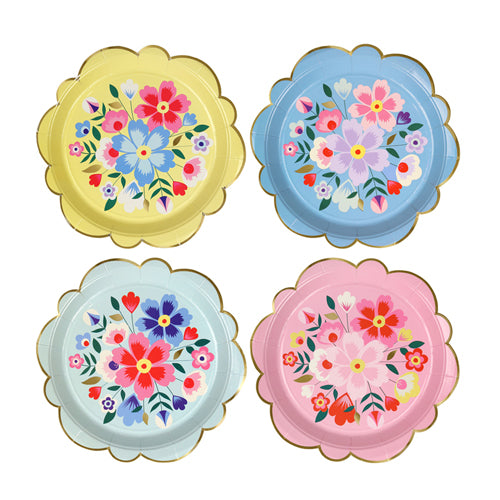 FLORAL PARTY PLATES - SMALL IDEAL FOR A FLORAL OR FIESTA BIRTHDAY PARTY