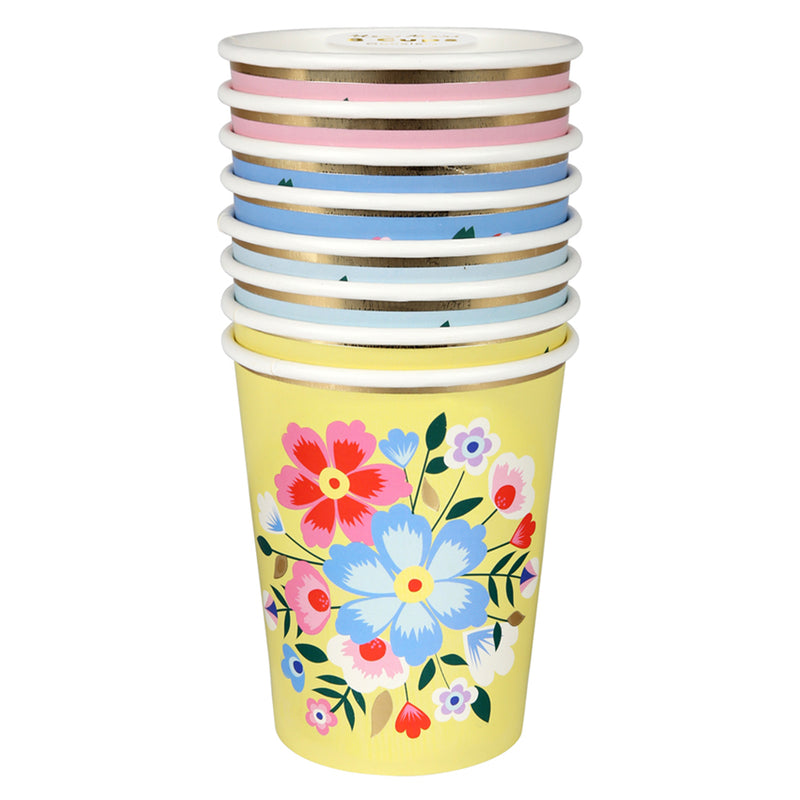 FLORAL PARTY CUPS IDEAL FOR A FLORAL OR FIESTA BIRTHDAY PARTY