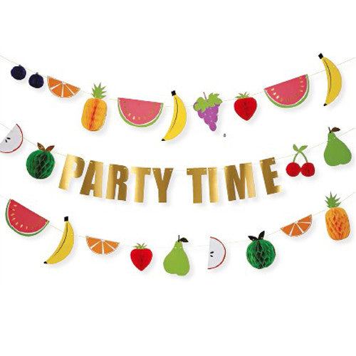 Fruit birthday party garland featuring tropical fruits such as pineapples, watermelons, bananas, oranges, strawberries, perfect for a tropical birthday party.