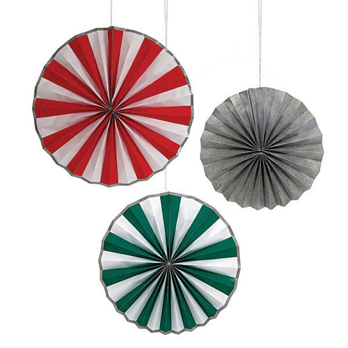 Giant Pinwheel Decorations in red, white, green and silver